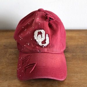 OU Splatter Paint Baseball Hat - Adjustable Size